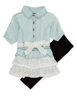 Baby Girl Denim Ruffle Top with Leggings Set - 1540038345981