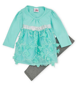 Baby Girl Peplum Top with Tulle Panel and Leggings Set - 1540054731080