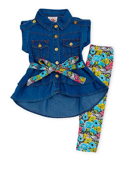 Baby Girl Denim Tunic Top and Printed Leggings Set - 1540054731320