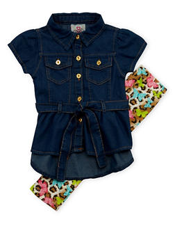 Baby Girl Belted Denim Top and Leggings with Butterfly Print - 1540054731321