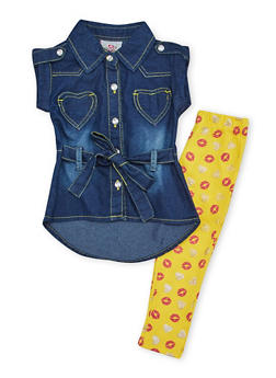 Baby Girl Denim Tunic Top and Printed Leggings Set - 1540054731327