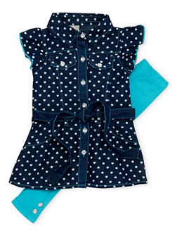 Baby Girl Denim Dress and Leggings Set - 1540054731328