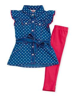 Baby Girl Denim Dress and Leggings Set - 1540054731328