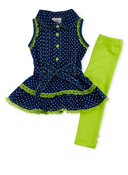 Baby Girl Denim and Lace Dress with Leggings Set - 1540054731329