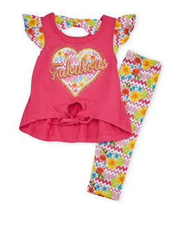 Baby Girl Graphic Tee and Printed Leggings Set - 1540054731330