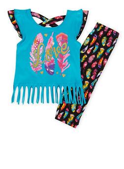 Baby Girl Fringed Tee and Printed Leggings Set - 1540054731331