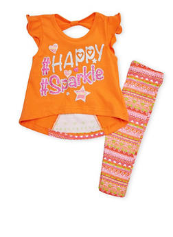 Baby Girl Graphic Tee with Printed Leggings Set - 1540054731332