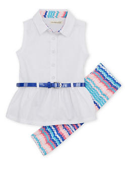 Baby Girl Sleeveless Peplum Top and Leggings Set - 1540061950099