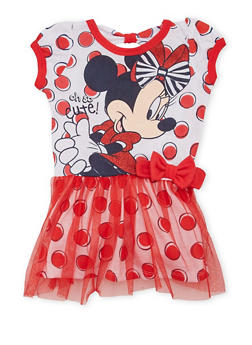Baby Girl Dress with Minnie Mouse Graphic - 1544017721226