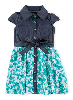 Baby Girl Chambray Yoke Dress with Chiffon Skirt - 1544038340541
