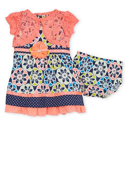 Baby Girl Dress with Shrug and Bloomers Set - 1544060990230