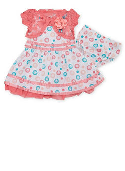 Baby Girl Printed Dress with Lace Bolero and Bloomers - 1544060990234