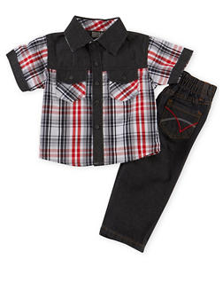 Baby Boy Plaid Button Front Shirt with Jeans Set - 1550054731407