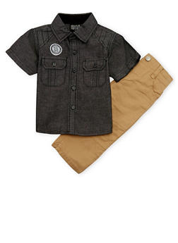 Baby Boy Denim Shirt and Twill Moto Pants Set - 1550054731408