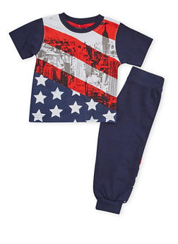 Baby Boy Joggers and T Shirt with American Flag Print - 1550054731415