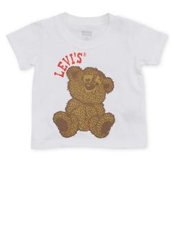 Baby Boy Levis Crew Neck T Shirt with Teddy Bear Print - 1562070341133