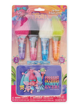Trolls Pack of 4 Lip Glosses with Tin - 1594050540137