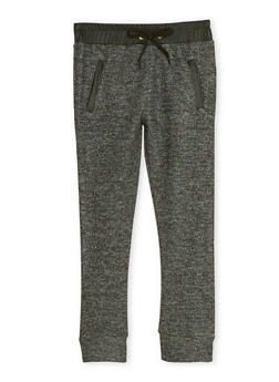 Girls 4-6x Marled Knit Joggers with Faux Leather Trim - 1601038340001