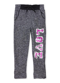 Girls 4-6x Marled Knit Joggers with Sequin Love Graphic - 1601038340004