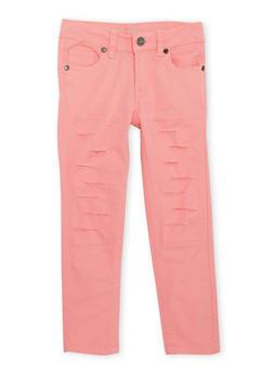 Girls 4-6X Rip and Repair Skinny Jeans - CORAL - 1601054730005