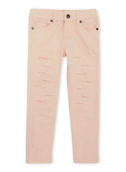 Girls 4-6X Rip and Repair Skinny Jeans - BLUSH - 1601054730005