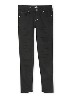 Girls 4-6x Ripped 5 Pocket Twill Pants - BLACK - 1601054730006