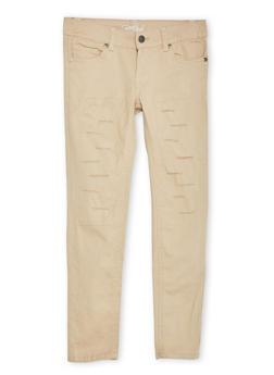 Girls 4-6x Ripped 5 Pocket Twill Pants - KHAKI - 1601054730006