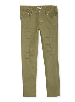 Girls 4-6x Ripped 5 Pocket Twill Pants - OLIVE - 1601054730006