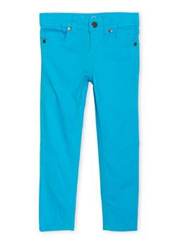Girls 4-6x Twill Skinny Pants - TURQUOISE - 1601054730008