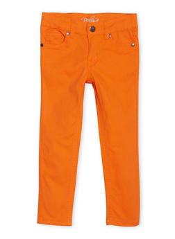 Girls 4-6x Twill Skinny Pants - ORANGE - 1601054730008