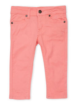 Girls 4-6x Solid Skinny Jeans - CORAL - 1601054730009