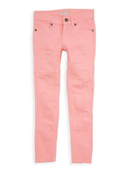 Girls 4-6x Coral Ripped Patch and Repair Pants - 1601054730010