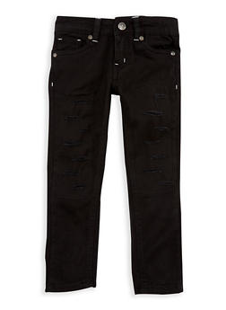 Girls 4-6x Black Ripped Patch and Repair Pants - 1601054730012