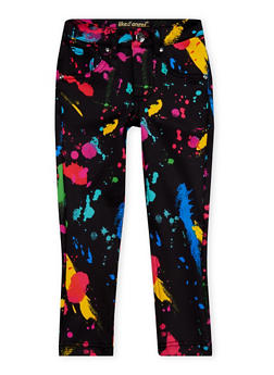 Girls 4-6x Skinny Pants with Paint Splatter Print - 1601056571560