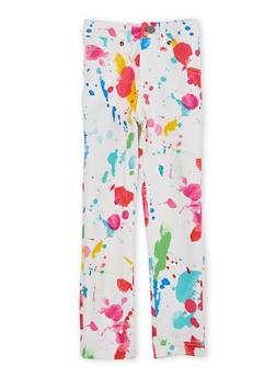 Girls 4-6x Skinny Pants with Paint Splatter Print - 1601056571561