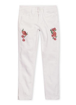 Girls 4-6x White Floral Embroidered Skinny Jeans - 1601056720006