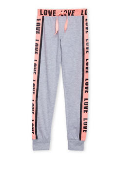Girls 4-16 Joggers with Love Graphic - 1601063400002