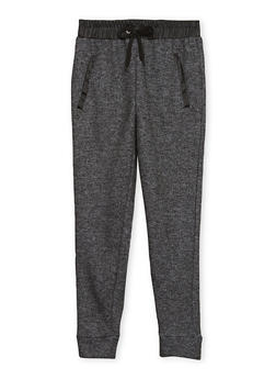 Girls 7-16 Marled Knit Joggers with Faux Leather Trim - 1602038340002