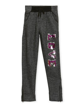 Girls 7-16 Zip Joggers with Sequin Love Print - 1602038340009