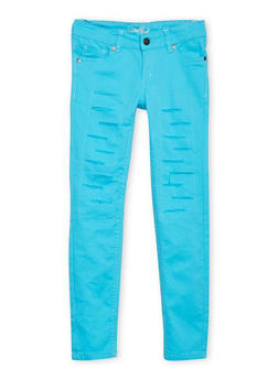 Girls 7-16 Solid Distressed Skinny Jeans - 1602054730005