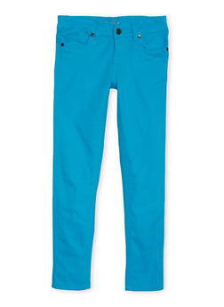 Girls 7-16 Colored Pants with Embroidered Back Pockets - 1602054730008