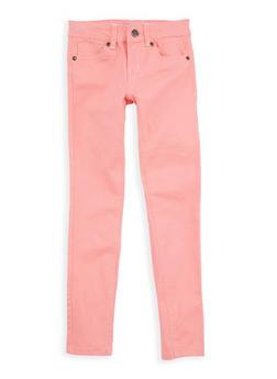 Girls 7-16 Coral Twill Skinny Pants - 1602054730010