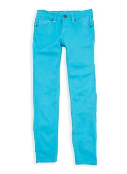 Girls 7-16 Turquoise Twill Pants - 1602054730014