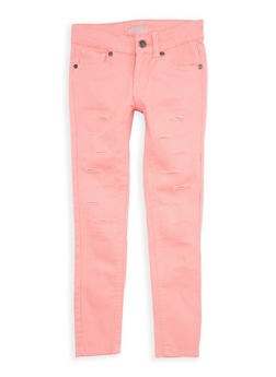 Girls 7-16 Coral Ripped Patch and Repair Pants - 1602054730016