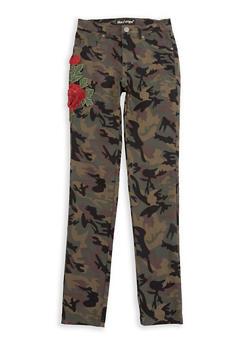Girls 7-16 Rose Applique Camo Stretch Pants - 1602056570003