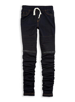 Girls 7-16 Ruched Denim Knit Joggers - 1602056570012