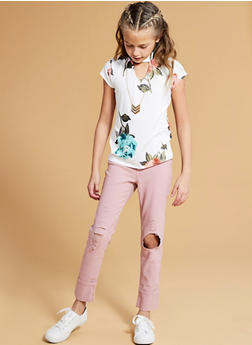 Girls 7-16 Distressed Hyperstretch Skinny Jeans with Cuffs - 1602056570042