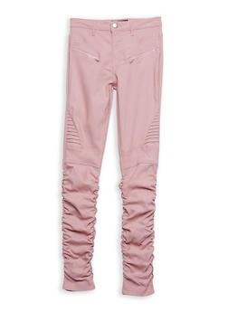 Girls 7-16 Hyperstretch Ruched Moto Pants - 1602056570043