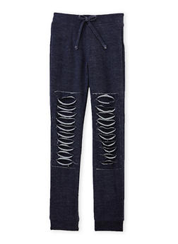 Girls 7-16 Distressed Joggers - 1602056577002