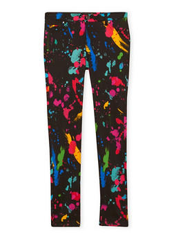 Girls 7-16 Jeggings with Paint Splatter Print - 1602056577003